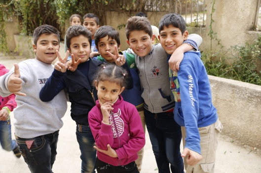 Syrian kids in recess at a school in the Bekaa valley, eastern Lebanon.
